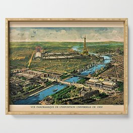 1910 Paris France French Cityscape Map Serving Tray