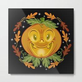 Retro Smiling Jack O Lantern Metal Print
