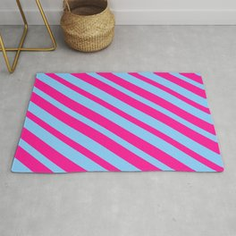 Deep Pink & Light Sky Blue Colored Stripes/Lines Pattern Rug