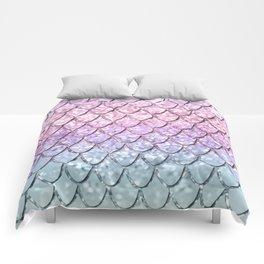 Mermaid Scales on Unicorn Girls Glitter #1 #shiny #pastel #decor #art #society6 Comforters