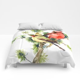 Cardinal Birds on Pine Tree Comforters