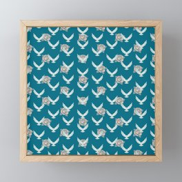 Doves and Roses PINK CERULEAN / Dove and rose pattern Framed Mini Art Print