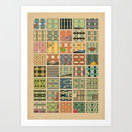 Symetric comic's patterns Art Print