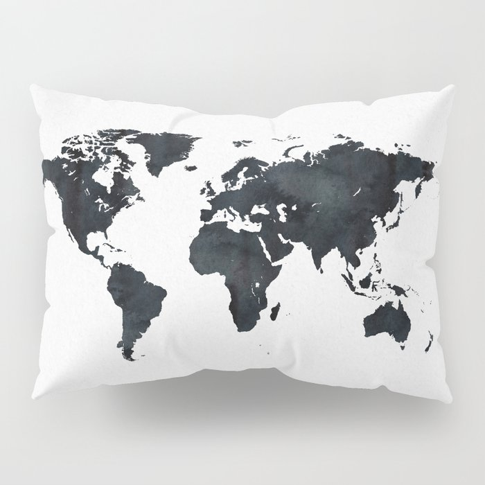 World Map in Black and White Ink on Paper Pillow Sham