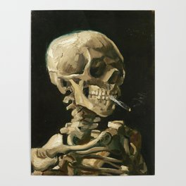 Van Gogh Head of a skeleton with a burning cigarette Poster
