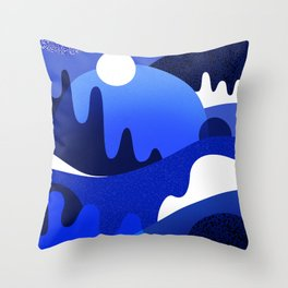 Terrazzo landscape blue night Throw Pillow