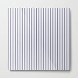 Classic Narrow Midnight Blue mattress Ticking Stripes on White Metal Print