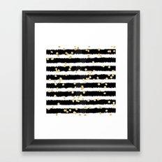 Modern black watercolor stripes chic gold confetti Framed Art Print