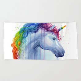 Magical Rainbow Unicorn Beach Towel