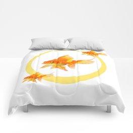3 GOLDFISH SWIMMING PATTERN MODERN ART Comforters