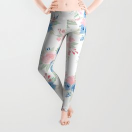 Blush Pink and Navy Watercolor Florals Leggings