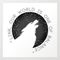 Twilight Wolf - Black Art Print
