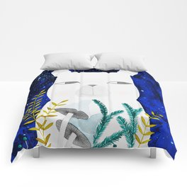 polar bear with botanical illustration in blue Comforters