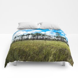 Cypress Trees and Blue Skies Comforters