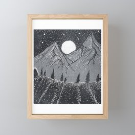 """Moonrise"" Hand-Drawn by Dark Mountain Arts Framed Mini Art Print"