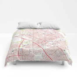 Vintage Map of San Fernando California (1966) Comforters