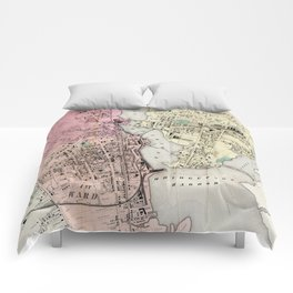 Vintage Map of Bridgeport CT (1867) Comforters