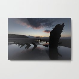 Sunset over the Helvetia at Rhossili Bay Metal Print