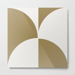 Diamond Series Round Checkers White on Gold Metal Print