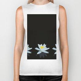 Waterlily Flowers On Black Background #decor #society6 #buyart Biker Tank