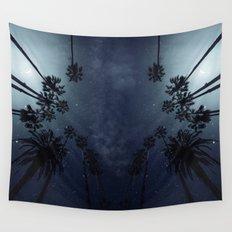 Palm Trees, Night Sky, Stars, Moon Wall Tapestry