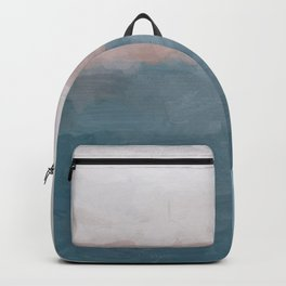 Turquoise Aqua Blue Coral Rose Pink Gray Abstract Painting, Modern Wall Art, Ocean Sunset Sand Wave Backpack