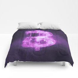 Thai Baht sign, Thailand baht symbol. Monetary currency symbol. Abstract night sky background. Comforters