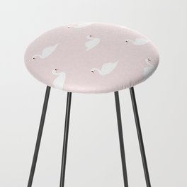 Swan pattern on pink 033 Counter Stool