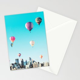 Minneapolis, Minnesota Skyline with Hot Air Balloons Over the City Skyline Stationery Cards