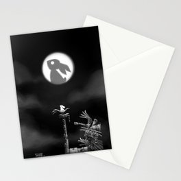 Rabbit on the moon Stationery Cards