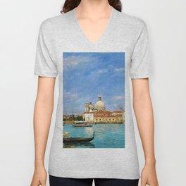 Eugene Louis Boudin - Venice, Santa Maria Della Salute From San Giorgio - Digital Remastered Edition Unisex V-Neck
