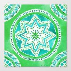 MIGHTY MEDALLION Green Boho Mandala Canvas Print