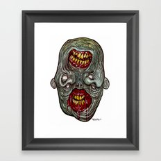 Heads of the Living Dead Zombies: Two Face Zombie Framed Art Print