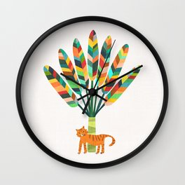 Whimsical travelers palm with tiger Wall Clock