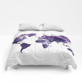 Purple World Map Comforters