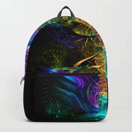Neon - Fractal - Visionary Art - Manafold Art Backpack