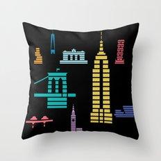 New York Skyline Empire State Poster Black Throw Pillow