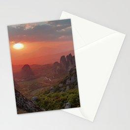 Majestic Sunset on Meteora Rocks Greece Stationery Cards