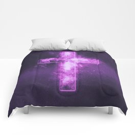 Christian cross symbol. Abstract night sky background. Comforters