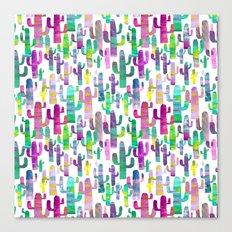 Watercolor Cacti - Pinks - Saguaros Canvas Print
