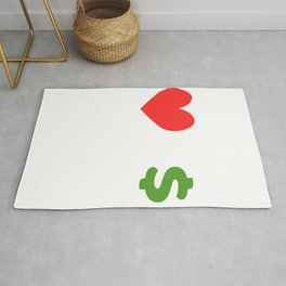 """""""Love Over Money"""" tee design. Perfect for career lovers out there! Makes a nice and perfect gift too Rug"""