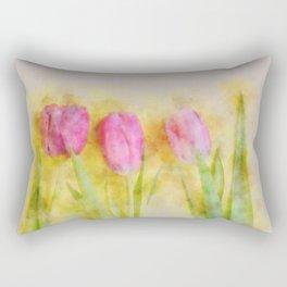 Three pink tulips Rectangular Pillow