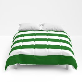 Emerald green - solid color - white stripes pattern Comforters