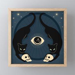 Midnight Cats Doing Their Dark Business Framed Mini Art Print