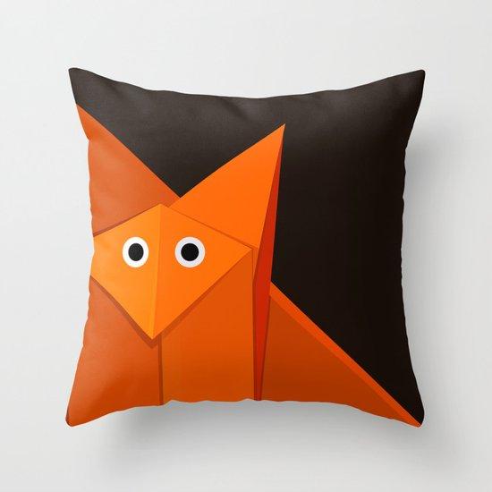 Dark Geometric Cute Origami Fox Throw Pillow