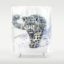 snow leopard Shower Curtain