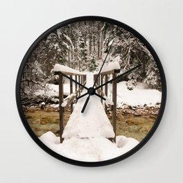 Pericnik Falls Snowy Bridge Wall Clock