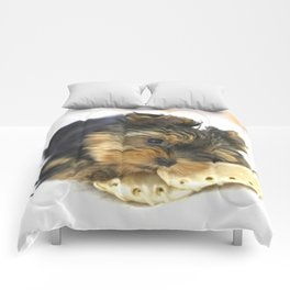 Puppy And the First Chewing Bone Yorkshireterrier #decor #society6 Comforters