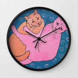 Cat Cuddles Wall Clock