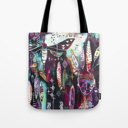 """""""Inspire Truth"""" Original Painting by Flora Bowley & Lynzee Lynx Tote Bag"""